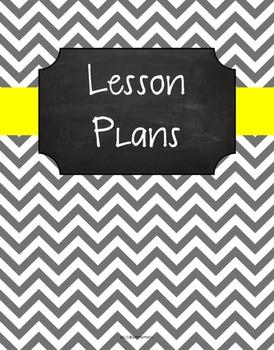 {Lesson Plan Binder Cover Freebie} Gray Chevron Chalkboard Lemon Yellow Ribbon