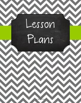 {Lesson Plan Binder Cover Freebie} Gray Chevron Chalkboard w/ Lime Green Ribbon