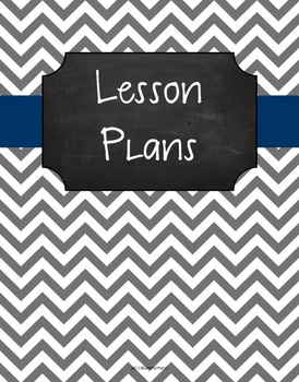 {Lesson Plan Binder Cover Freebie} Gray Chevron Chalkboard with Navy Ribbon