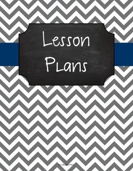 {Lesson Plan Binder Cover Freebie} Gray Chevron Chalkboard with Navy Ribbon