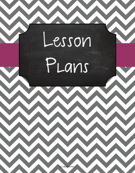 {Lesson Plan Binder Cover Freebie} Gray Chevron Chalkboard with Plum Ribbon