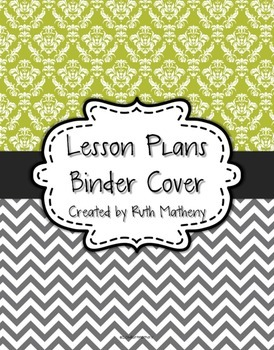 {Lesson Plan Binder Cover Freebie} Lime Damask and Gray Chevron