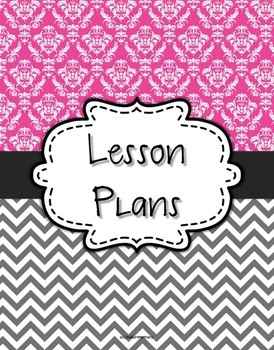 {Lesson Plan Binder Cover Freebie} Magenta Damask and Gray Chevron