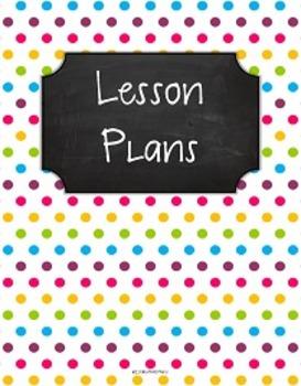 {Lesson Plan Binder Cover Freebie} Multi Brights Polka Dots Chalkboard