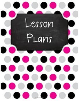 {Lesson Plan Binder Cover Freebie} Pink, Black, & Gray Pol