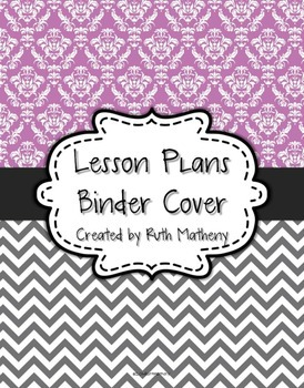 {Lesson Plan Binder Cover Freebie} Purple Damask and Gray Chevron