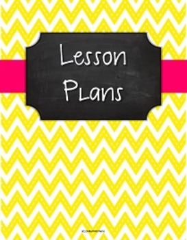 {Lesson Plan Binder Cover Freebie} Stitched Yellow Chevron Chalkboard Pink Rib.