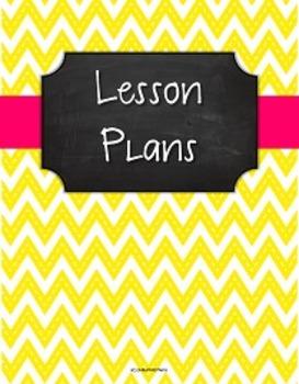 {Lesson Plan Binder Cover Freebie} Stitched Yellow Chevron Chalkboard Pink Rib.
