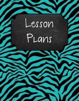 {Lesson Plan Binder Cover Freebie} Turquoise & Black Zebra Chalkboard