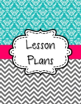 {Lesson Plan Binder Cover Freebie} Turquoise Damask and Gray Chevron