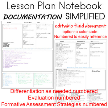 Lesson Plan Binder Editable Pages
