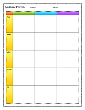 Lesson Plan Blank Printable 3 Subject