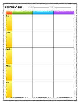 Lesson Plan Blank Printable 3 Subject