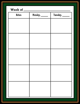 Lesson Plan Book, 42 Weeks  - School Theme - Just click the print button!
