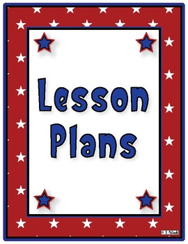 Lesson Plan Book, 42 Weeks -Stars & Stripes Theme - Just click the print button!