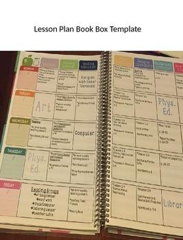 Lesson Plan Book Box Template
