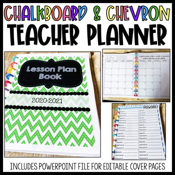 Lesson Plan Book {Chevron and Chalkboard Theme}