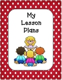 Lesson Plan Book Covers and Planning Template-Red and White Polka Dots