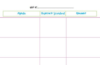 Lesson Plan Book Page Template