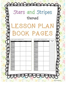 Lesson Plan Book Pages - Stars!
