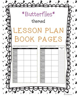 Lesson Plan Book Pages - Butterflies!