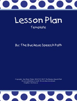 Lesson Plan Book Pages FREEBIE!! Speech Therapy