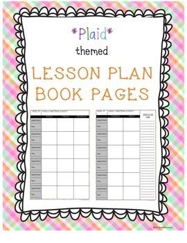 Lesson Plan Book Pages - Plaid!