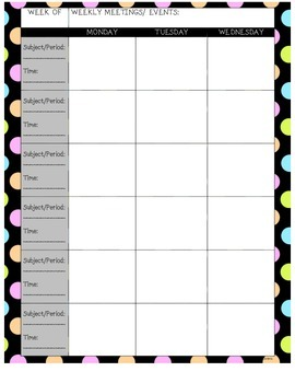Lesson Plan Book Pages - Polka Dots!