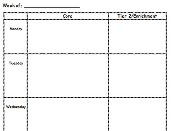 Lesson Plan Book Pages for Core + Intervention