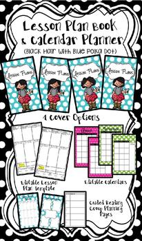 Lesson Plan Book & Planner {Black Hair: Blue Polka Dot}