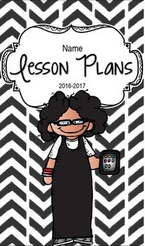 Lesson Plan Book & Planner {Black Hair & Glasses: Black Herringbone}