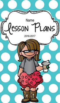 Lesson Plan Book & Planner {Brown Hair & Glasses: Blue Polka Dot}
