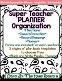 Lesson Plan Book and Organizer - Editable - Black and White Paisley Theme