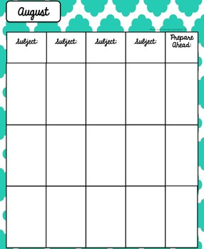 Lesson Plan Book and Organizer - Editable- Quatrefoil Theme