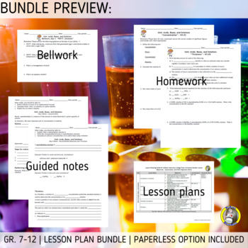 Lesson Plan Bundle: Acids, Bases, and Solutions