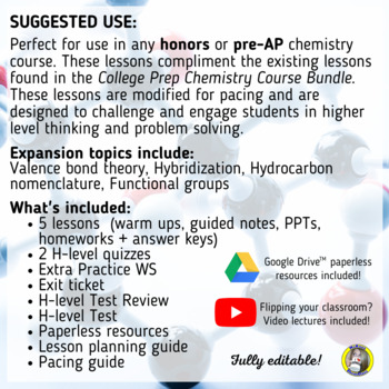 Lesson Plan Bundle: Carbon Chemistry and Valence Bond Theory