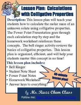 Lesson Plan: Calculating the Molar Mass of a Solute Using Colligative Properties