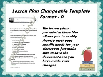 Lesson Plan Changeable Template - Format D
