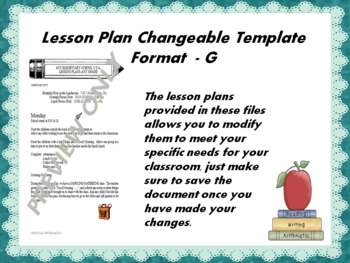 Lesson Plan Changeable Template - Format G