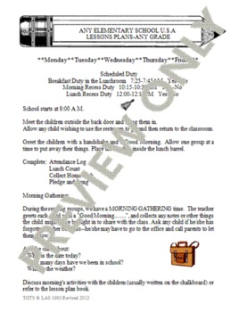 Lesson Plan Changeable Template - Format H