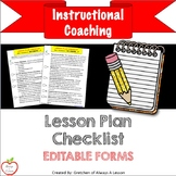 Instructional Coaching: Lesson Plan Checklist [EDITABLE]