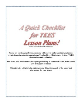 Lesson Plan Checklist to Support TKES