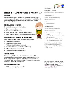 "Lesson Plan - Common Verbs & ""Me Gusta"""