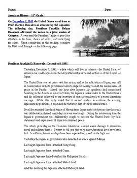 Lesson Plan: Compare FDR Infamy Speech w/ Bush 9-11 Speech