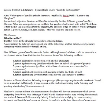 """Lesson Plan: Conflict in Roald Dahl's """"Lamb to the Slaughter"""" Includes Handouts!"""