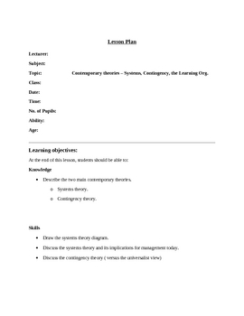 Lesson Plan - Contingency Theory, Systems Theory