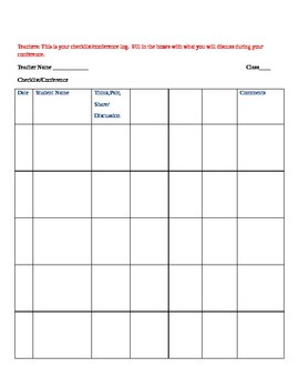 Lesson Plan and Conference Checklist; Danielson Framework;