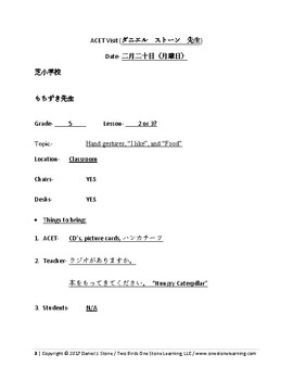 Lesson Plan-  English in Japan (Elementary School Visits) Model Class for BOE