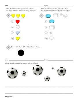 Kindergarten: Lesson Plan Focus 1: Lesson 1: Same(alike) and Different