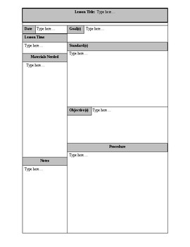 Editable Lesson Plan Form- Ideal for Observations